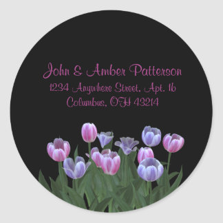Black with Tulip Flowers Address Labels Round Sticker
