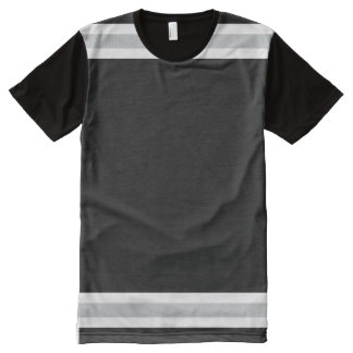 Black with White and Silver Trim All-Over Print T-Shirt