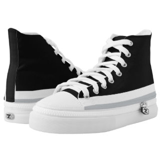 Black with White and Silver Trim Hi-Top Printed Shoes