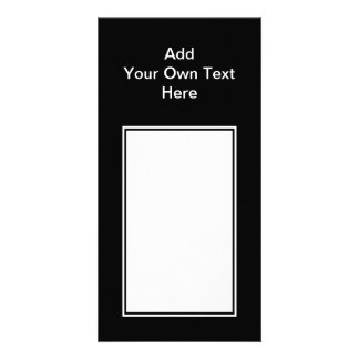 Black with White Area and Custom Text. Personalized Photo Card