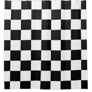 Black With White Checkerboard Shower Curtain