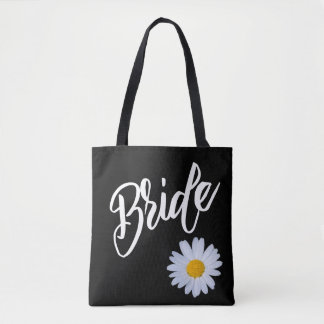 Black with White Daisy Bride Tote Bag