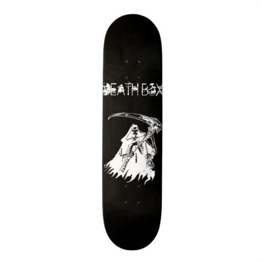 Black with White Death Box Skateboard Deck