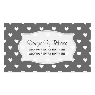 Black With White Heart Business Cards