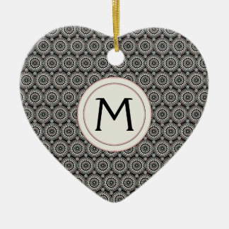 Black With White Lace Rounds Pattern With Initial Ceramic Ornament