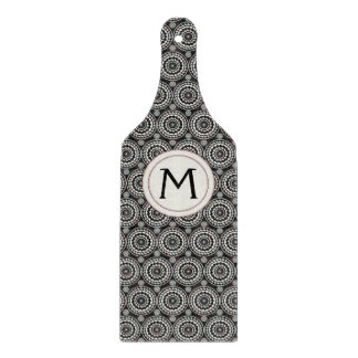 Black With White Lace Rounds Pattern With Initial Cutting Board
