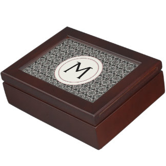 Black With White Lace Rounds Pattern With Initial Keepsake Box