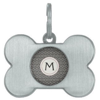 Black With White Lace Rounds Pattern With Initial Pet Name Tag