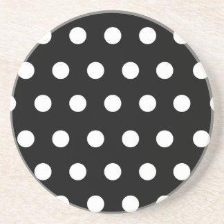 Black With White Polka Dots Beverage Coasters