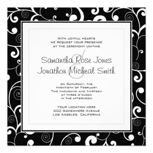 Black with White Scroll Square Wedding Invitation