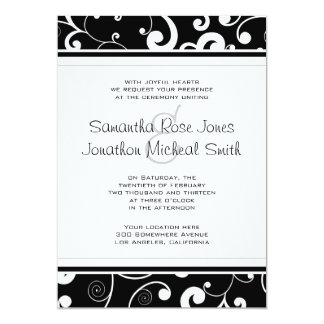 Black with White Scroll Wedding Invitation