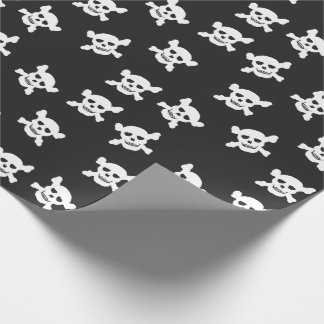Black with White Skull and Crossbones Wrapping Paper