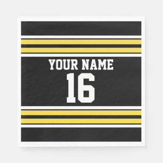 Black with Yellow White Stripes Team Jersey Disposable Serviette