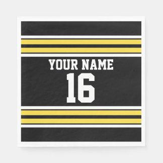 Black with Yellow White Stripes Team Jersey Paper Napkin