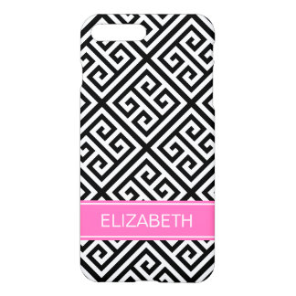 Black WMed Greek Key DiagT Hot Pink Name Monogram iPhone 7 Plus Case