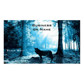 Black Wolf Alone in the Forest Pack Of Standard Business Cards