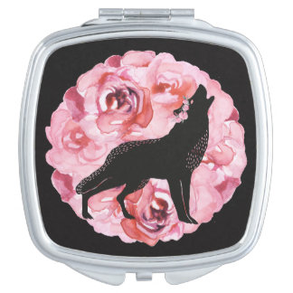 Black Wolf and Pink Roses Square Compact Mirror