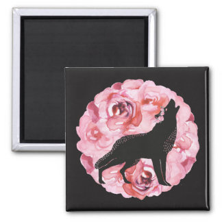 Black Wolf and Pink Roses Square Magnet