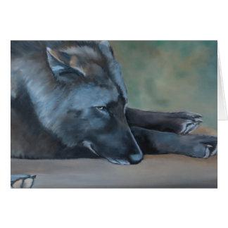 Black Wolf Lying Art Greeting Card