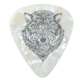 Black Wolf Pearl Celluloid Guitar Pick
