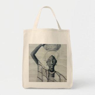 Black woman grocery tote bag