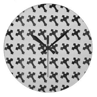 Black Wood Crosses on White Design Clocks