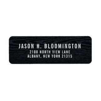 Black Wood Grain | Return Address Return Address Label