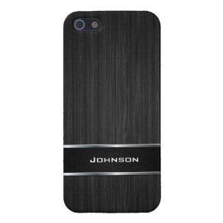 Black Wood Look with Silver Metal Leather Label | Cover For iPhone 5/5S