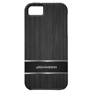 Black Wood Look with Silver Metal Leather Label   iPhone 5 Cases
