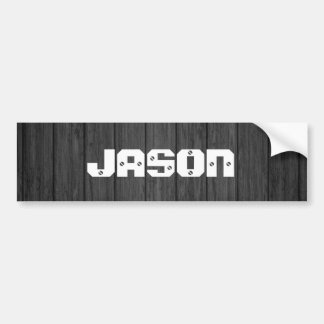 Black Wood Planks Personalized Name Bumper Sticker