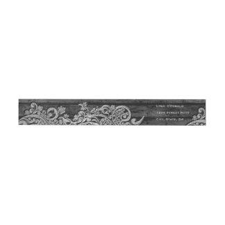 Black Wood Silver Snow Personalized Wrap Around Label
