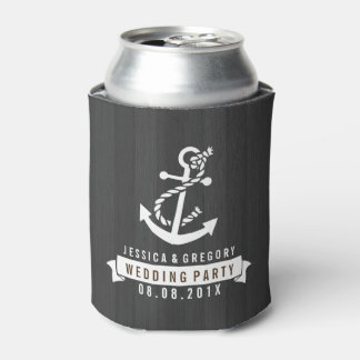 Black Wood Stripes White Nautical Boat Anchor Can Cooler