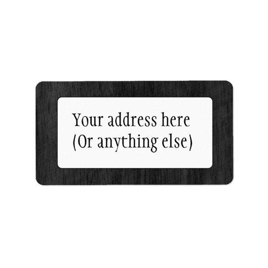 Black Wood Texture Address Label