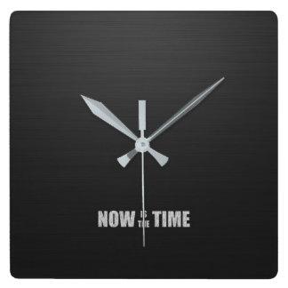 Black Wood Texture Typography Clock