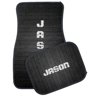 Black Wood With White Personalized Names Floor Mat