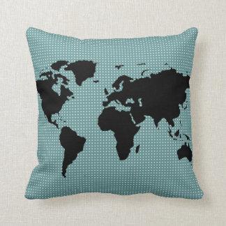 black world map and polka dots pillows
