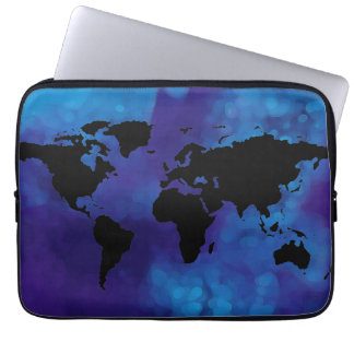 black world map . blue sea laptop sleeve