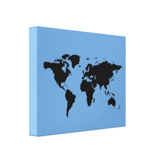 black world-map on blue gallery wrapped canvas