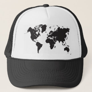 black world map trucker hat