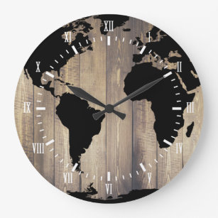 Black world map wall clocks zazzle black world map wooden planks white numerals large clock gumiabroncs Images