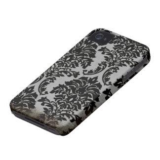 Black worn damask stylish pattern blackberry bold iPhone 4 cases