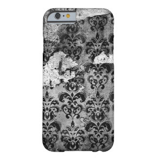 Black Worn-out Vintage Grunge Damask Pattern Barely There iPhone 6 Case
