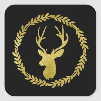Black Wreath Gold Deer Christmas Square Sticker