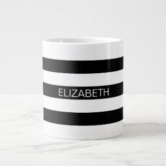 Black Wt Horizontal Preppy Stripe #2 Name Monogram Jumbo Mug