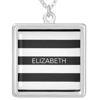 Black Wt Horizontal Preppy Stripe #2 Name Monogram Square Pendant Necklace