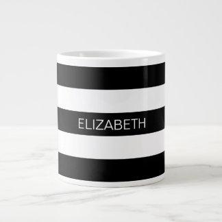 Black Wt Horizontal Preppy Stripe #3 Name Monogram Jumbo Mug