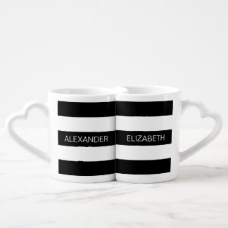 Black Wt Horizontal Preppy Stripe #3 Name Monogram Lovers Mugs