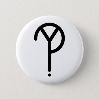 Black Y? Symbol- On White 6 Cm Round Badge