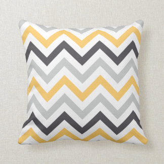 Black Yellow and Gray Zigzag Chevron Pattern Throw Pillow