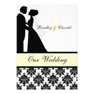 Black Yellow and White Couple Wedding Invitation